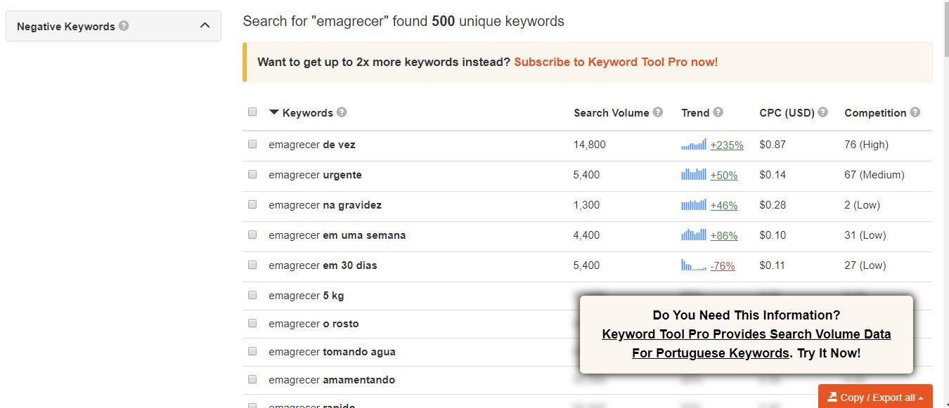 Pesquisa de palavra chave no Keyword Tool - Trabalhar Como Afiliado Iniciante e Fazer Muitas Vendas no Marketing Digital + 10 Passos PODEROSOS