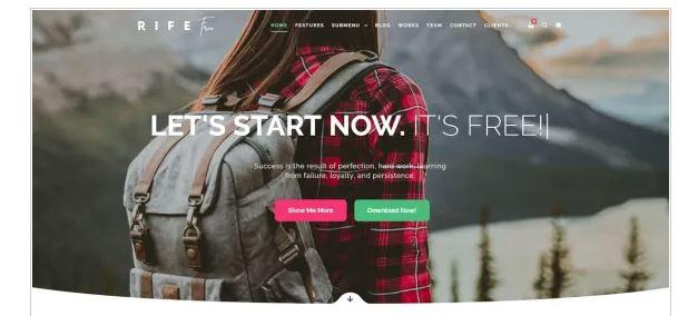 Rife Free tema wordpress gratis - Melhores Temas Wordpress Grátis em 2020 Por Categorias de Sites