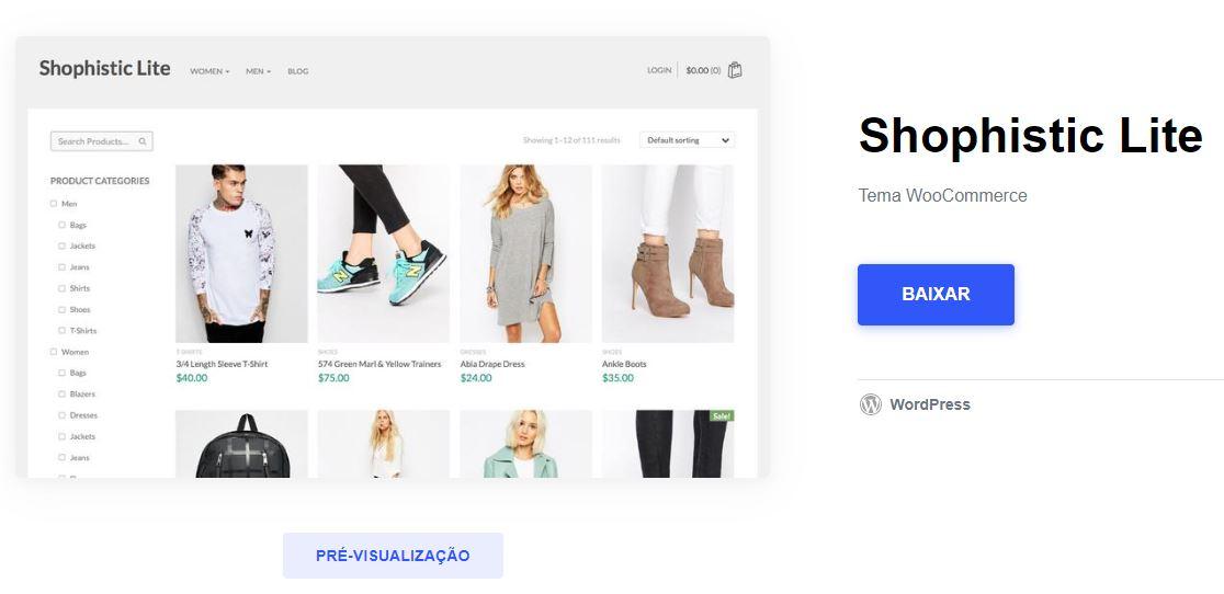 tema e commerce wordpress gratis shophistic - Melhores Temas Wordpress Grátis em 2020 Por Categorias de Sites